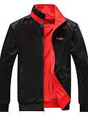 cheap Men's Jackets & Coats-Men's Daily / Sports Spring &  Fall Regular Jacket, Letter Stand Long Sleeve Polyester Black / Red / Gray XXXXL / XXXXXL / XXXXXXL