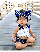 halpa Vauvojen vaatesetit-Vauva Tyttöjen Aktiivinen Painettu Solmittava Hihaton Lyhyt Puuvilla Vaatesetti Laivaston sininen
