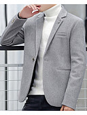 ieftine Blazer & Costume de Bărbați-Bărbați Gril pe Kamado Primăvara & toamnă Regular Blazer, Mată Guler Cămașă Manșon Lung Poliester Bleumarin / Gri / Gri Deschis XL / XXL / XXXL