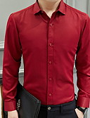 billige Herreskjorter-Tynd Herre - Ensfarvet Plusstørrelser Skjorte Vin XXXL