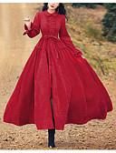 preiswerte Maxikleider-A-Linie Stehkragen Knöchel-Länge Jersey Kleid mit Schärpe / Band durch LAN TING Express