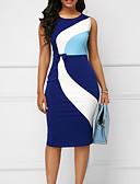 hesapli Print Dresses-Kadın's Büyük Bedenler İş İnce Kılıf Elbise - Zıt Renkli Diz-boyu