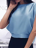 cheap Women-Women's Shirt - Solid Colored Blue M