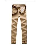 Недорогие Мужские брюки и шорты-Муж. Классический Чино Брюки - Однотонный Хаки Светло-серый Тёмно-синий 34 36 38