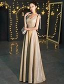 cheap Evening Dresses-A-Line Spaghetti Strap Floor Length Sequined Dress with Sequin / Bow(s) by LAN TING Express