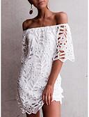 זול שמלות מיני-סירה מתחת לכתפיים מיני תחרה שמלה ישרה בגדי ריקוד נשים