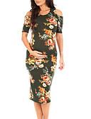 abordables Robes-Femme Sophistiqué Elégant Au dessus du genou Gaine Robe - Ruché Imprimé, Fleur Blanc Noir Orange M L XL Manches Courtes