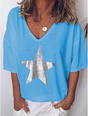 povoljno Majica s rukavima-Veći konfekcijski brojevi Majica s rukavima Žene Geometrijski oblici V izrez Print Crn / Proljeće / Ljeto / Jesen / Zima