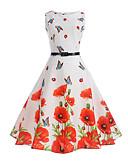 preiswerte Retro-Königin-Damen Retro A-Linie Kleid Blumen Knielang