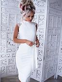 저렴한 로맨틱 레이스-여성용 파티 작동 우아함 스키니 바디콘 드레스 - 한 색상 무릎 위 / 섹시
