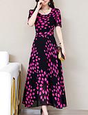 billige Kjoler med tryk-Dame Plusstørrelser Basale Tynd Skede Kjole - Geometrisk Maxi U-hals