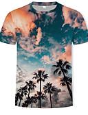 abordables Camisetas y Tops de Hombre-Hombre Estampado - Algodón Camiseta, Escote Redondo 3D Arco Iris XL