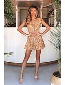 hesapli Mini Elbiseler-Kadın's Sokak Şıklığı Kılıf Elbise - Geometrik, Desen Diz üstü