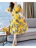 cheap Women's Dresses-Women's A Line Dress Navy Blue Yellow XL XXL XXXL