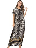 abordables Vestidos Maxi-Mujer Túnica Vestido - Estampado, Leopardo Maxi