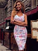 preiswerte Damen Kleider-Damen Schlank Etuikleid Kleid - Blume Blumig Druck, Blumen Midi Gurt