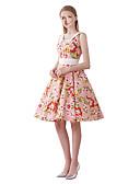 levne Svatební bolerka-Dámské Vintage Swing Šaty - Květinový, Tisk Délka ke kolenům