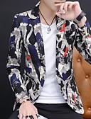 お買い得  メンズブレザー&スーツ-男性用 ブレザー, フラワー ショールラペル ポリエステル ブラック / ルビーレッド / イエロー L / XL / XXL