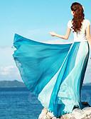 cheap Women's Skirts-Women's Vacation Maxi Swing Skirts - Color Block Chiffon / Patchwork Fuchsia Orange Blue One-Size