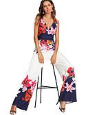 hesapli Kadın Tulumları-Kadın's Temel / Sokak Şıklığı Derin V Beyaz Geniş Bacak Tulumlar, Çiçekli Kırk Yama / Desen M L XL
