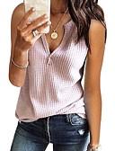 halpa T-paita-Naisten V kaula-aukko Yhtenäinen T-paita Punastuvan vaaleanpunainen L / Kevät / Kesä / Syksy