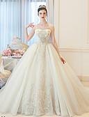 ราคาถูก ชุดแต่งงาน-บอลกาวน์ Bateau Neck ชายกระโปรงชาเปิล ลูกไม้ / Tulle ชุดแต่งงานที่ทำขึ้นเพื่อวัด กับ ของประดับด้วยลูกปัด / ลายปัก / ลูกไม้ โดย LAN TING BRIDE®