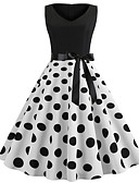 זול מלכת הוינטאג'-מעל הברך שרוכים לכל האורך, מנוקד - שמלה נדן וינטאג' אלגנטית בגדי ריקוד נשים