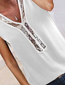 povoljno Majica s rukavima-Majica s rukavima Žene Jednobojni V izrez Šljokice / Chiffon / Kolaž Sive boje / Proljeće / Ljeto / Jesen