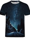 hesapli Erkek Tişörtleri ve Atletleri-Erkek Yuvarlak Yaka Tişört Desen, 3D Temel Siyah / Kısa Kollu