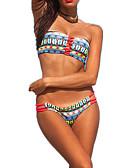 halpa Bikinis-Naisten Perus Sateenkaari Bandeau Narubikinit Tankini Uima-asut - Geometrinen Avoin selkä L XL XXL Sateenkaari
