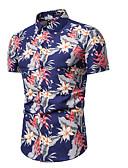 levne Pánské košile-Pánské - Květinový Košile, Tisk Vodní modrá XL