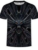 povoljno Muške majice i potkošulje-Veći konfekcijski brojevi Majica s rukavima Muškarci Pamuk 3D / Životinja Okrugli izrez Print Crn