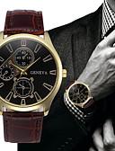hesapli Deri-Erkek Elbise Saat Havacılık İzleme Quartz Deri Siyah / Kahverengi Hayır Gündelik Saatler Analog Moda - Kahverengi Siyah / Beyaz Altın+Siyah Bir yıl Pil Ömrü