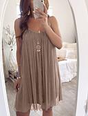 levne Print Dresses-Dámské Cikánský A Line Šaty - Jednobarevné, Plisé Délka ke kolenům
