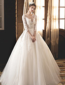 cheap Wedding Dresses-Ball Gown Jewel Neck Floor Length Lace / Tulle / Lace Over Satin Made-To-Measure Wedding Dresses with Appliques by LAN TING Express