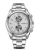 hesapli Lüks Saatler-Erkek Elbise Saat Quartz Gümüş Gündelik Saatler Büyük Kadran Analog Lüks Moda Aristo - Beyaz Siyah