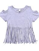 tanie Topy dla niemowląt-Dziecko Dla dziewczynek Aktywny / Podstawowy Solidne kolory Frędzel Krótki rękaw Bawełna / Poliester T-shirt Szary
