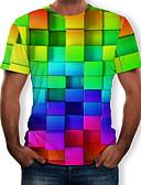 זול טישרטים לגופיות לגברים-3D / קשת צווארון עגול טישרט - בגדי ריקוד גברים דפוס קשת / שרוולים קצרים