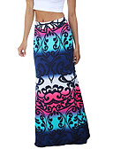 cheap Women's Skirts-Women's Basic Maxi Bodycon Skirts - Geometric Print Purple Fuchsia Blue S M L / Slim