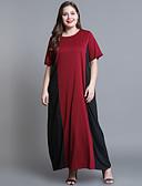 halpa Pluskokoiset mekot-Naisten Pluskoko Puuvilla Löysä Suora Mekko Maxi