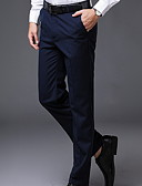 hesapli Erkek Pantolonları ve Şortları-Erkek Temel İnce Takım Elbise Pantolon - Solid Koyu Mavi Gri Şarap XXL XXXL XXXXL