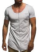 povoljno Muške majice i potkošulje-Majica s rukavima Muškarci Pamuk Jednobojni Okrugli izrez Slim Plava XL