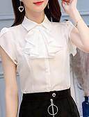 hesapli Gömlek-Kadın's Gömlek Yaka Bluz Solid Beyaz