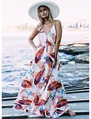 abordables Vestidos de Mujer-Mujer Boho Corte Swing Vestido - Volante Correa, Floral Maxi