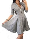 cheap Women's Blouses-Women's Shirt Dress Blue Gray Wine M L XL