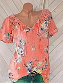 povoljno Majica-Veći konfekcijski brojevi Majica s rukavima Žene Dnevni Nosite Jednobojni V izrez Čipka / Cvjetni Style / Print Obala / Proljeće / Ljeto / Jesen