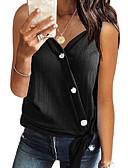 abordables Camisetas para Mujer-Mujer Botón Camiseta, Escote en Pico Un Color Naranja L / Primavera / Verano / Otoño