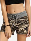 ราคาถูก กางเกงขาสั้น-สำหรับผู้หญิง Sporty / Street Chic กางเกงขาสั้น กางเกง - Camouflage Color ลายต่อ / ลายพิมพ์ ฝ้าย สีเทา L XL XXL