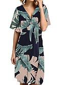 cheap Print Dresses-Women's Basic A Line Dress - Floral Print Green White Navy Blue L XL XXL