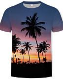 hesapli Erkek Tişörtleri ve Atletleri-Erkek Pamuklu Yuvarlak Yaka Tişört Desen, Ağaçlar / Yapraklar Gökküşağı
